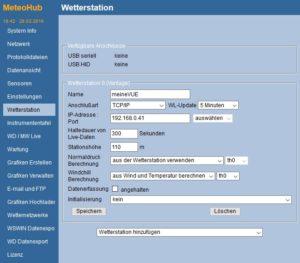 Meteohub Seite WETTERSTATION