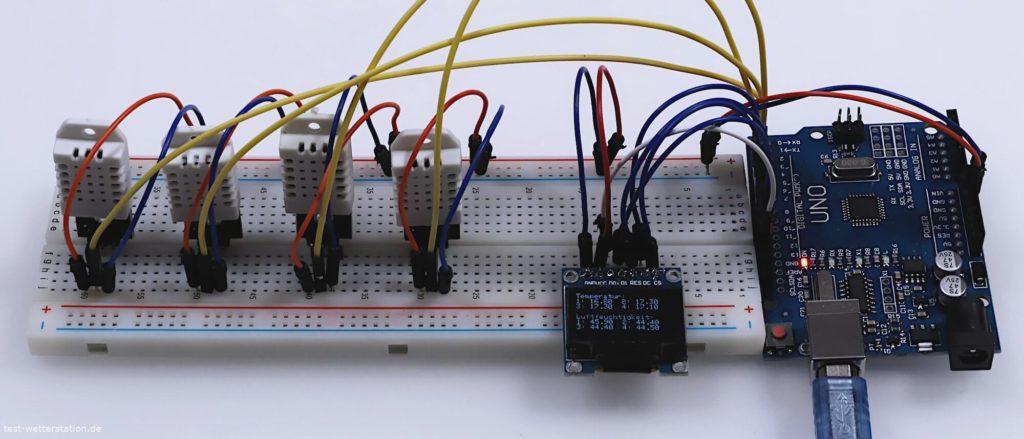 4x DHTL Temperatursensor am Arduiuno