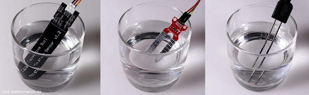 Kalibrierung der Feuchtigkeitssensoren in Wasser