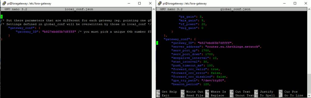 Anpassen der Datei local_conf.json und global_conf.json