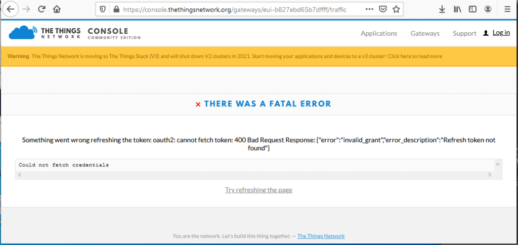 the things network there was a fatal error something went wrong refreshing the token